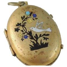 Antique Locket Pendant Enameled Bird Design