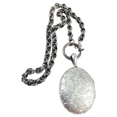 Antique Victorian Silver Large Locket on Book Chain Sterling Necklace