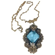 Vintage Czech Blue Ice Glass Filigree Pendant on Chain Necklace