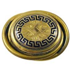 Antique Victorian Locket Brooch Memento Pill Box Black Enamel Brass C Clasp