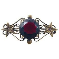 Antique Victorian Red Paste Stone Brass Star Brooch