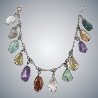 Vintage Sterling Silver Raw Gemstone Charm Bracelet Amethyst Jade Citrine Aquamarine