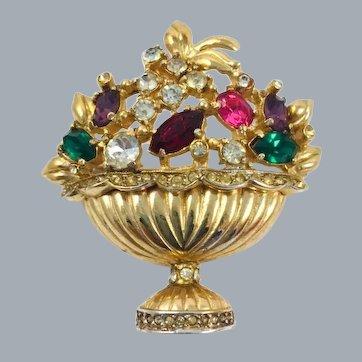 "Vintage Coro Adolph Katz ""Fragrance"" Urn Basket of Flowers Brooch"
