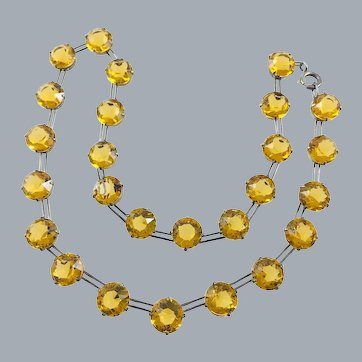 Art Deco Sterling Silver Topaz Yellow Paste Riviere Necklace