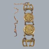 Antique Art Nouveau Lady Vest Pocket Watch Fob Chain