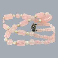 Antique Chinese Export Rose Quartz Necklace Sterling Clasp