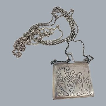 Vintage Sterling Silver Purse Locket Pendant Necklace