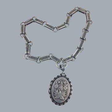"""Victorian Sterling Book Chain Locket Necklace Hallmarked 17"""""""