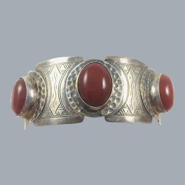 Vintage Sterling Silver Carnelian Cuff Bracelet Hammered Design