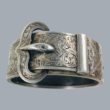 Victorian Sterling Silver Buckle Bangle Bracelet
