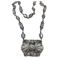 Victorian Etruscan Silver Plated Necklace Chain