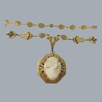 Vintage Czech Victorian Revival Shell Cameo Locket Necklace