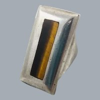 Vintage Taxco Sterling Silver Modernist Ring Tigers Eye Hallmarked Mexico Eagle 3 SSA