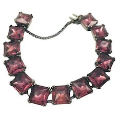 Vintage Art Deco Sterling Silver Purple Paste Rhinestone Bracelet
