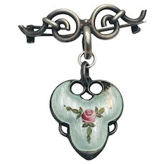 Antique Victorian Sterling Silver Guilloche Enamel Pink Rose Brooch Upcycled piece