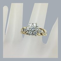 Vintage 14k Gold .50ctw Diamond Cluster Harmony Ring Size 8