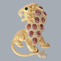 Kenneth Jay Lane KJL Limited Edition Prideful Lion Brooch Original Box Pouch