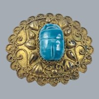 Vintage 900 Silver Gilt Egyptian Revival Scarab Brooch c.1930's/40's