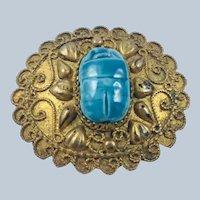 Vintage 900 Silver Gilt Egyptian Revival Scarab Brooch c.1930's/40's