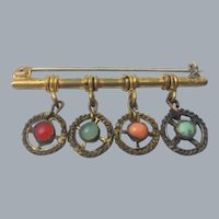 Etruscan Revival Coral Turquoise Jade Dangle Bar Brooch