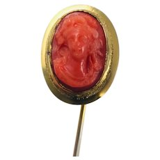 Antique Celluloid Coral Cameo Stick Pin