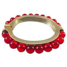 Vintage LES BERNARD Signed Red Glass Bead Bangle Hinged Bracelet