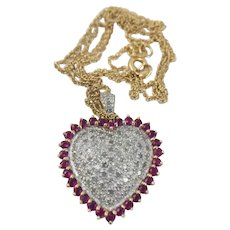 Genuine Pave Diamond & Ruby 14k Solid Gold Heart Pendant Necklace Chain