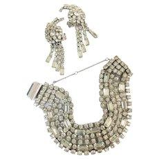 Vintage KRAMER Clear Rhinestone Bracelet Dangle Earrings Demi Parure Set