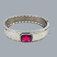 Antique Art Deco Nuwite Ruby Glass Stone Bangle Bracelet