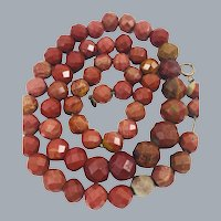 Antique Ox Blood Jasper Stone Bead Necklace on Chain