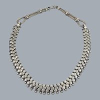 Vintage Sterling Silver Choker Mesh Necklace Book Chain