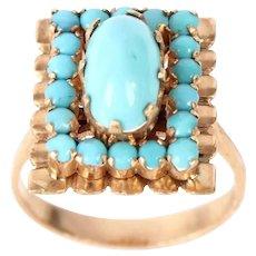 Vintage 14k Rose Gold Turquoise Ring Size 6.5