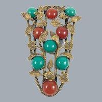 Antique Floral Bronze Brass Red Green Glass Cabochon Dress Clip