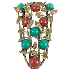Antique Floral Bronze Brass Red Green Glass Cabochon Dress Clip