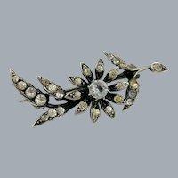 Antique Victorian Sterling Silver Paste Flower Brooch