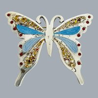 Vintage TAXCO Miguel Arias Sterling Silver Blue Enamel Inlay Butterfly Brooch