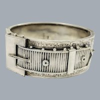 Antique Victorian English Sterling Silver Buckle Bracelet 1884