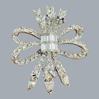 Vintage Sparkling PELL Clear Rhinestone Bow Arrows Brooch
