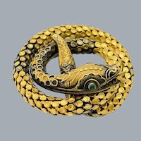 Antique Early Victorian Coiled Snake Gold Filled Brooch Exquisite