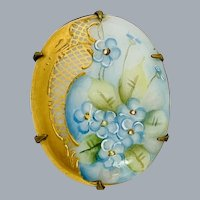 Antique Victorian Forget Me Nots Painted Porcelain Brooch Pin