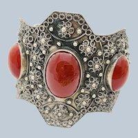 Vintage Carnelian Etruscan Revival Cannetille 800 Silver Cuff Bracelet