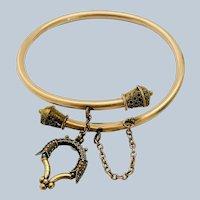 Antique Victorian Rose Gold Filled Bypass Snake Charm Bracelet