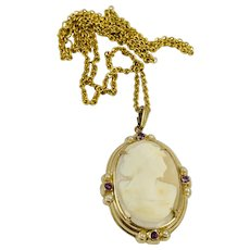 Vintage Gold Filled Carved Shell Cameo Pearls Purple Rhinestone Necklace Pendant