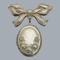 Vintage Sterling Silver Floral Roses Ribbon Bow Locket Brooch