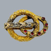 Antique Victorian Love Knot Tulip Brooch Red Stones