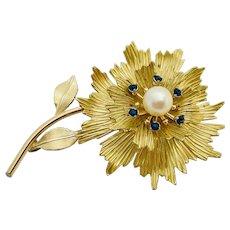 Vintage Krementz 14k Gold Overlay Pearl Rhinestone Flower Brooch
