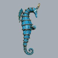 Vintage Chinese Export Sterling Silver Enameled Articulated Seahorse Pendant