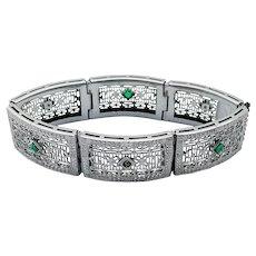 Antique Art Deco Rhodium Plated Filigree Bracelet Green Paste Stones