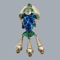 Vintage Sterling Silver Taxco Mexico Azurite Aztec Mask Dangle Brooch Pendant