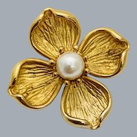 Vintage Krementz 14k Gold Overlay Dogwood Flower Pearl Brooch Pin
